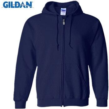 7d7fe1ea49998 Gildan hombres cárdigan Sudaderas ropa de marca moda Zip Hoodie hombre  Casual Slim Fit bolsillo sudadera ropa deportiva