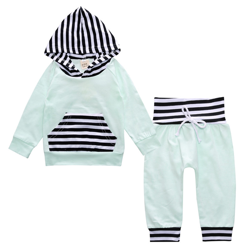 4 Color Spring Clothing Sets Baby Boy Girl Clothes Set Striped Cotton Long Sleeve Hooded Tops+Pants Kids Boys Girls Sport Suits