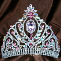 Queen Princess 6 Tiara Floral Diadem Pink And Clear Rhinestones Crystal Handmade Crown Bridal Prom Pageant