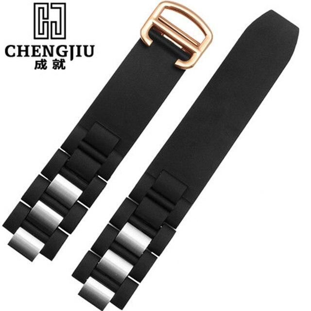 3820760fc01 20mm Assista Bracelete Cartier Para Pulseiras De Silicone Preto Branco  Relógios Horas Banda de Pulseira Do