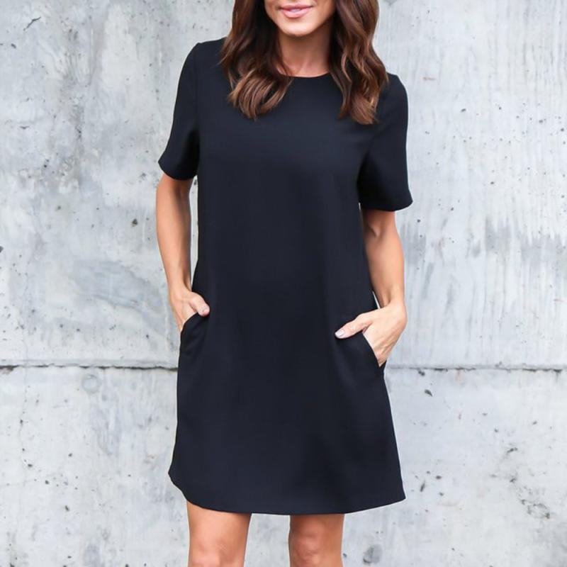 2a8e55e4aec1 Detail Feedback Questions about Dress Women 2018 Summer Casual Dress Solid  Short Sleeveless above Knee Round Neck Pocket Spring Dresses Vestido Casual   415 ...