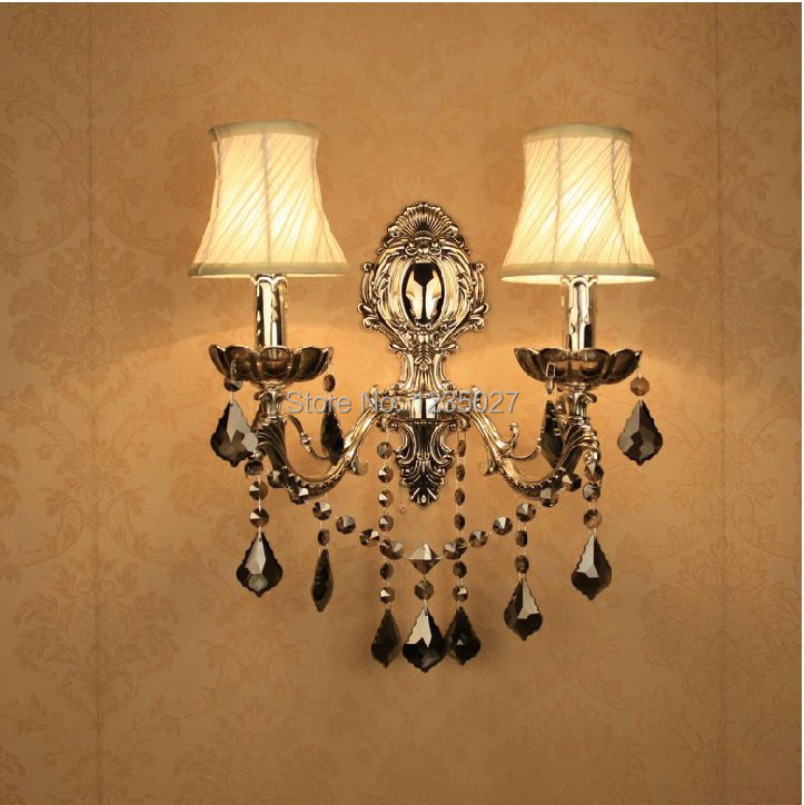 Free Shipping 2L Crystal Decoration Silver Alloy E14 candle Wall mounted Indoor crystal wall lamps lighting Wholesale free shipping silver l