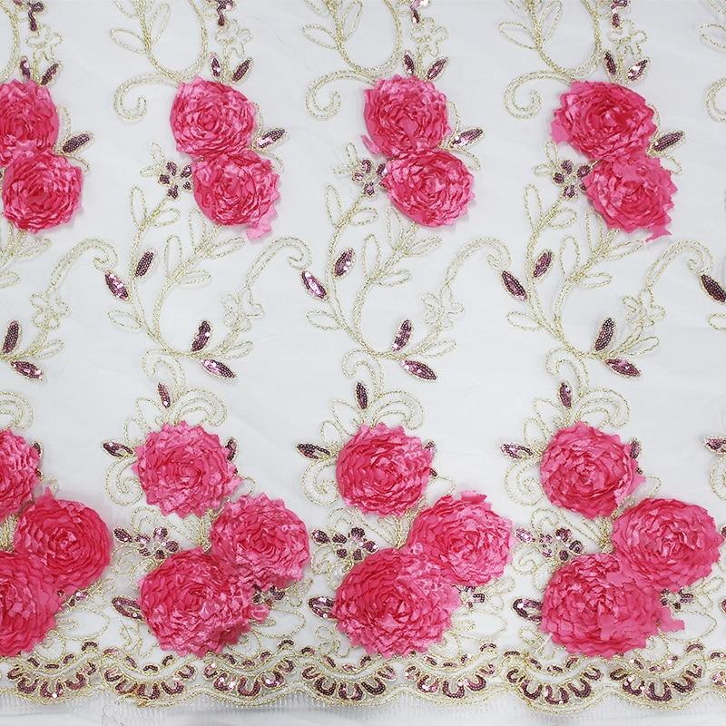5yards/Lot Chiffon, Lace, 3d Chiffon flower lace fabric, Hand Applique Fabric, Embroidery Flower Dress, DIY Wedding Dress Fabric