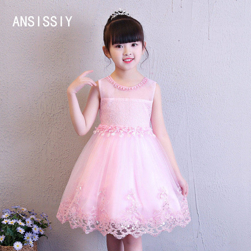 Summer Lace Vest Girl Dress Sleeveless Draped Flower Princess Dress 4-10 Age Children Clothes Kids Party Costume Ball Gown 2017 new summer children girl long sleeve lace dress kids clothes cotton child party princess tank girl dress sundress age 2 10y