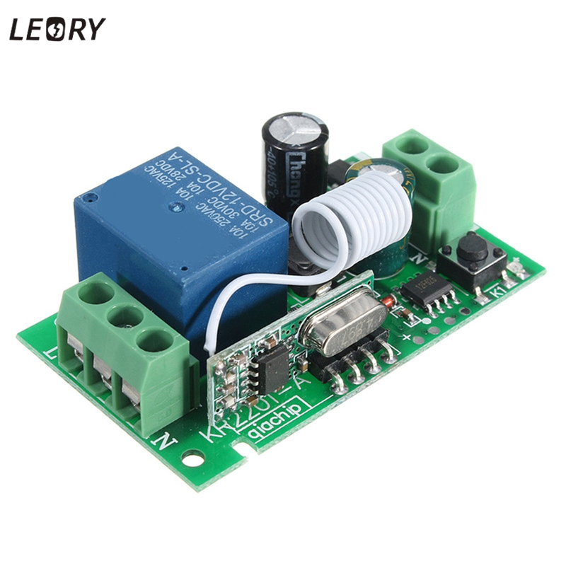 LEORY Smart Home DC 12V 220V 10A 1 Ch 315/433MHz Channel Wireless RF Remote Control Transmitter Receiver Relay Switch Best 12v 8 ch channel rf wireless remote control switch