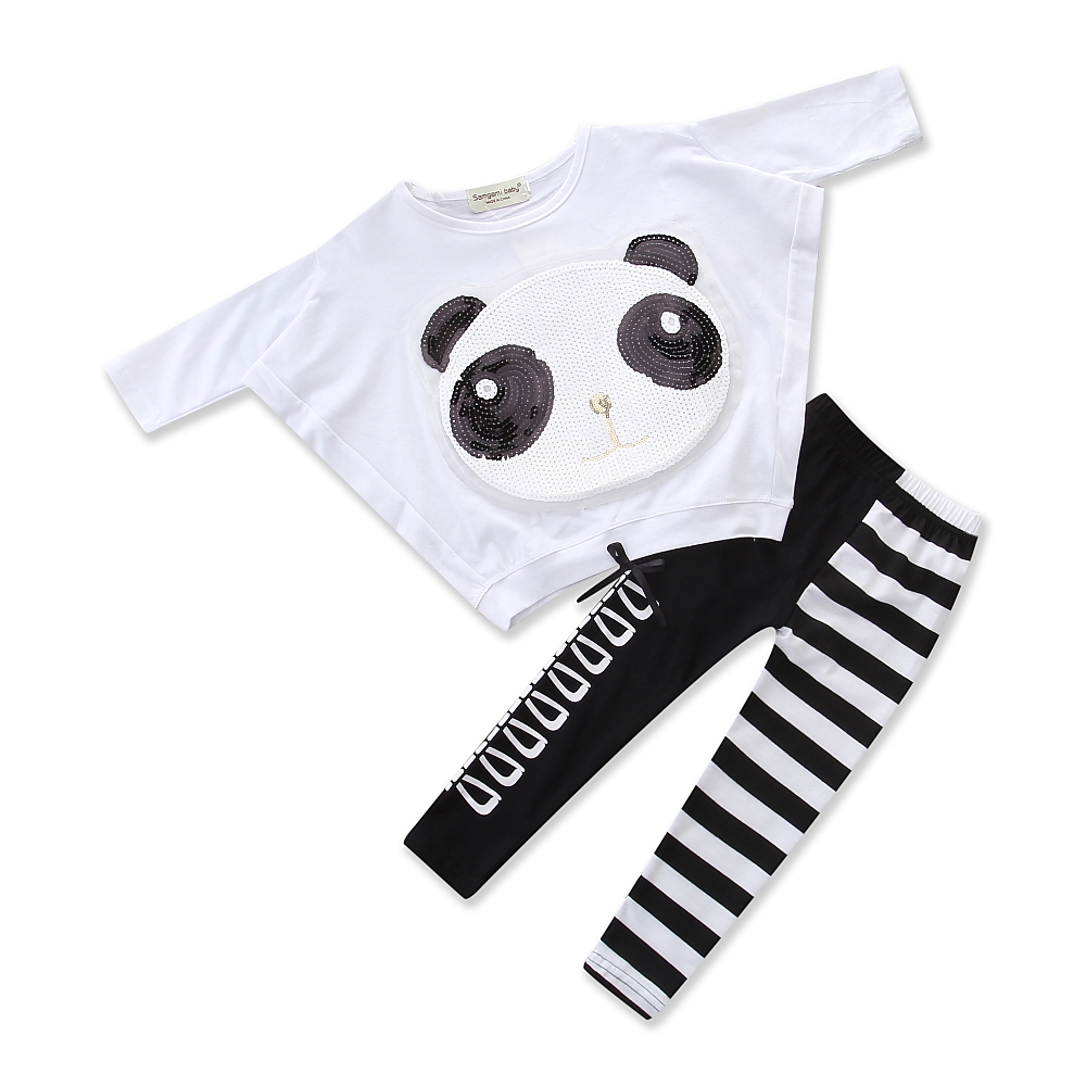 2018 child Summer New Children clothing set Girls 2PC Sets baby Clothing sets girls clothes panda tee print+girl stripe legging