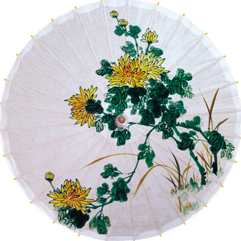 Free shipping chrysanthemum umbrella fabric dia 84cm waterproof and sunshade oiled paper umbrella gift and collection umbrella