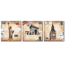 3 Panels European classical painting Statue of Liberty Arch of Triumph London Big Ben Picture Printed on Canvas (Wooden Framed)