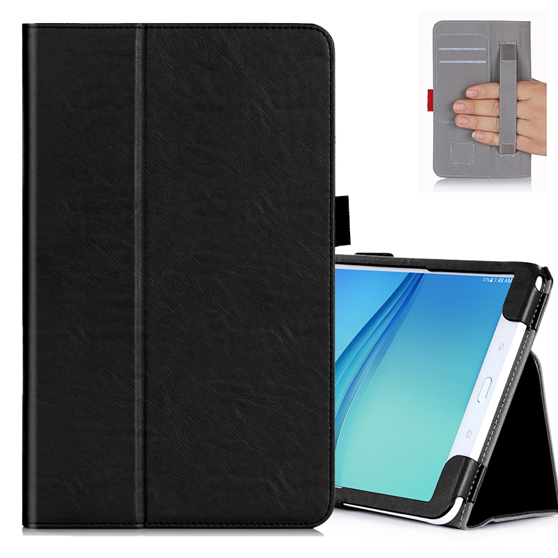 Flip Cover For Samsung Galaxy Tab A 10.1 2016 T585 T580 SM-T580 T580N Tablet case hand holder Strap Card Solt Wallet stand Cover