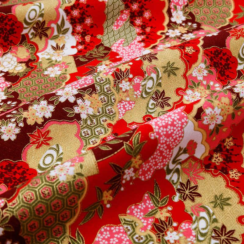 45*45 سنتيمتر 45*145 سنتيمتر البرونزية القطن النسيج اليابانية زهرة نمط النسيج DIY بها بنفسك خليط و فستان امرأة شيونغسام TJ8692