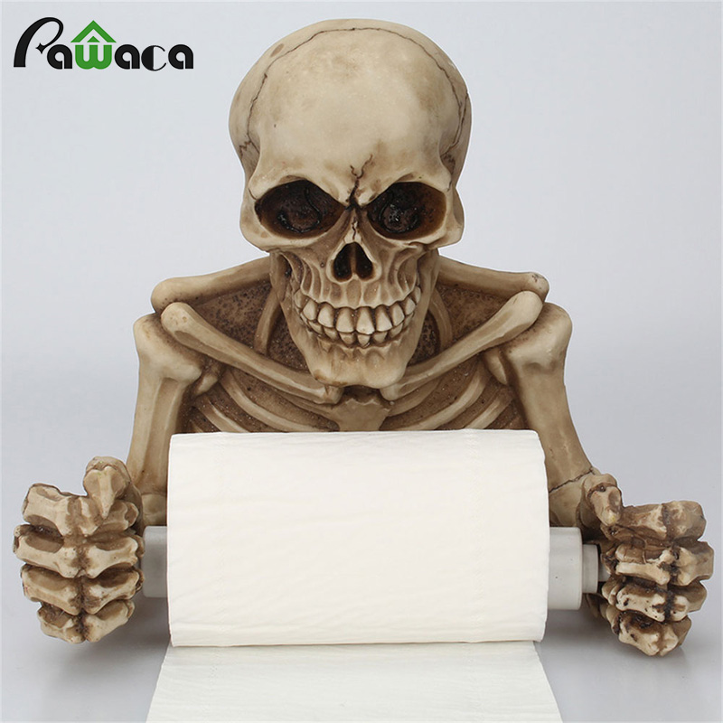 Hook Type Tissue Shelf Kitchen Bathroom Roll Paper Towel Holder Storage Rack Sundries Organizer Home Storage Tools Skull Holder