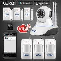 Kerui IP Caméra Smart Home Système D'alarme Anti-Intrusion Sans Fil Wifi 720 P GSM SMS Système de Sécurité Caméra Avec Détecteur de mouvement