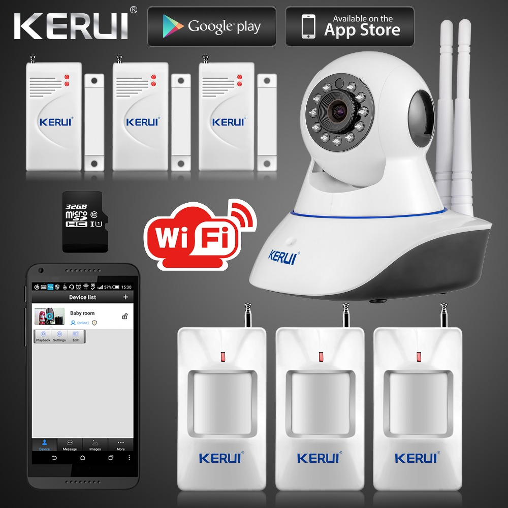 Kerui IP Camera Smart Home Intruder Alarm System Wireless Wifi 720P GSM SMS Security System Camera With Motion Sensor wireless wifi hd ip camera wifi gsm home intruder burglar alarm system security 720p 3 6mm len gsm surveillance device rated