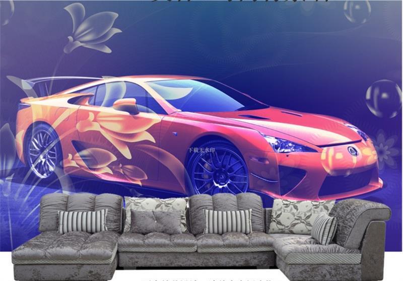 3d papier peint personnalisé peintures murales de la chambre non-tissé autocollant orange fleur de voiture photo TV canapé fond mur photo papier peint pour murs 3d