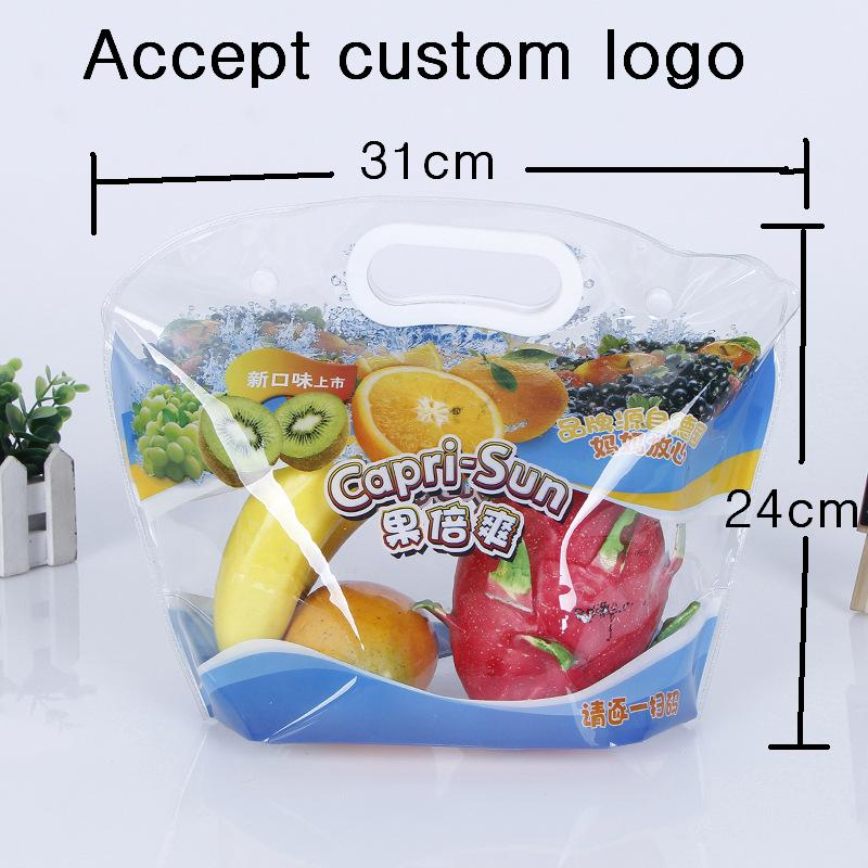 [4Y4A] 100pcs/Lot Custom Logo High Quality Square Bottom Packaging Bag Green Flat Waterproof PVC Bag Transparent Bump