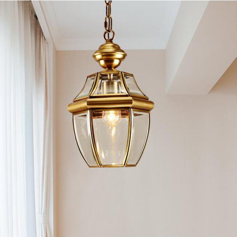 Retro 1 Pcs Copper Hanging Lamp Pendant Light For Balcony Bar Vintage Pendant Lamp E27 Corridor Garden Outdoor & Indoor Lighting