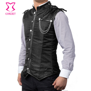 Image 5 - Black Striped Stand Collar Sleeveless Steel Boned Mens Steampunk Vest Gothic Corset Jacket Slimming Corset For Men