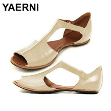 YAERNI 2019 New Size 35~43 sandals women 2019 flat Retro big size sandals for womenE1006(China)