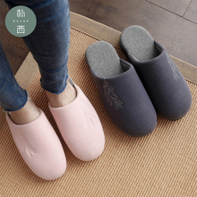 2019 Women's simple cotton slippers thick bottom home indoor bow warm slippers cotton slippers Non-slip mute Breathable slippers