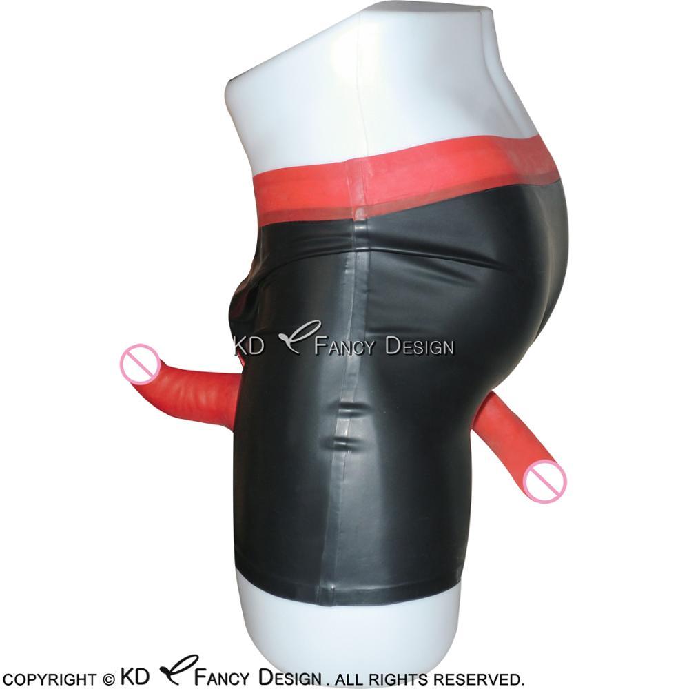 Noir Avec Rouge Sexy Latex Sous-Vêtements Avec Pénis Gaine Et préservatif Zip À L'avant En Caoutchouc Mémoires Boxeur Shorts Bas Pantalon DK-0080