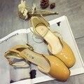 2016 Venta Caliente Mujer Casual Square Med Tacón Bombas Del Dedo Del Pie de Las Mujeres de la Hebilla Solos Zapatos Muchachas de la Manera Zapato con Cierre de Plataforma zapatos