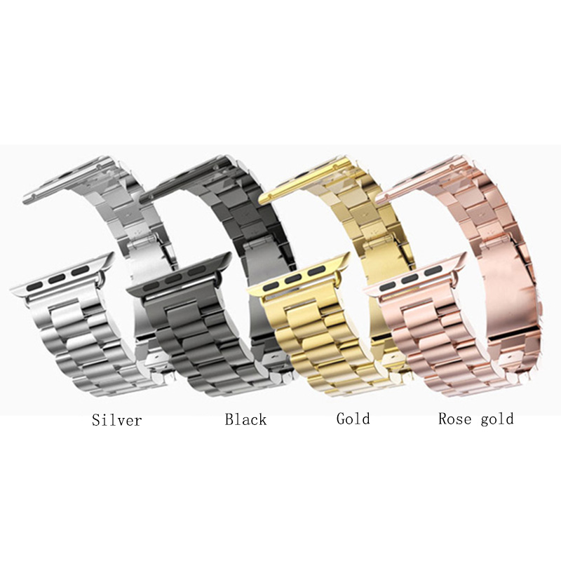 42/38mm New Metal Stainless Steel Gold Silver Black Gold Men's Watch Band for Apple Watch Bracelet Wrist Strap Fold Clasp T20 new men black gold silver metal watch band stainless steel bracelets for sports watch smart watch for gramin fenix 3