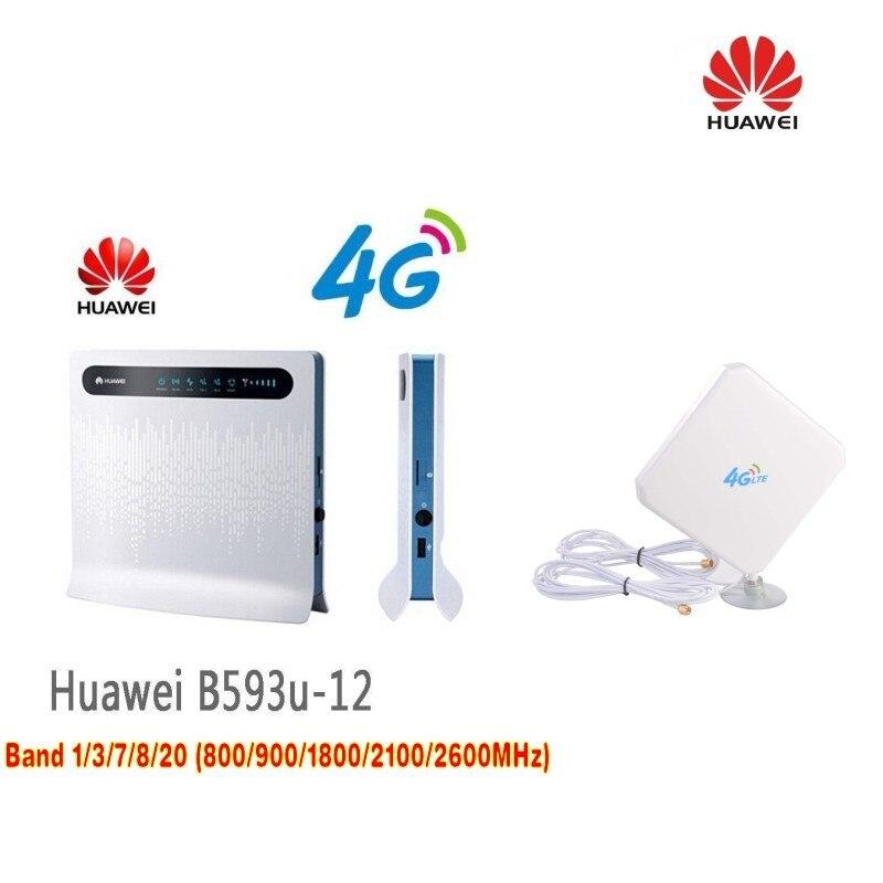 Routeur HUAWEI B593 LTE CPE 4G avec emplacement pour carte SIM B593u-12 + double antenne 35dBi 3G et 4G