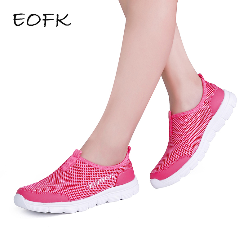 EOFK 2018 New Fashion Summer Women Casual Shoes Womens Flats Shoes Female Breathable Zapatillas Slip on Shoes Big Size 34-44