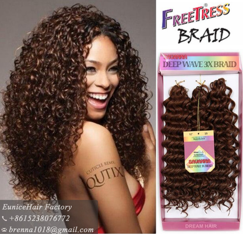 Easy combing  styling Crochet Braid Bundle 3x jerry curly 10 Inch deep wave twist freetress