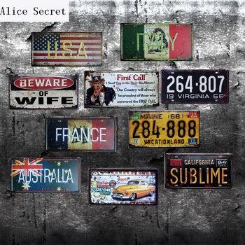 Car No. Metal Plates Decor USA Metal tin sign Bar Wall art craft Route 66 metal art Bar Shop Garage Coffee Pub Tin sign 15x30cm