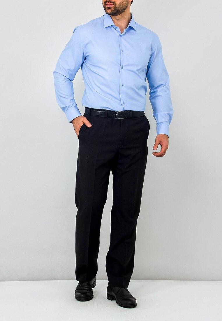 Shirt men's long sleeve GREG 223/131/590/ZV_GB Blue 3d bird and flower printed plain fly shirt collar long sleeves shirt for men