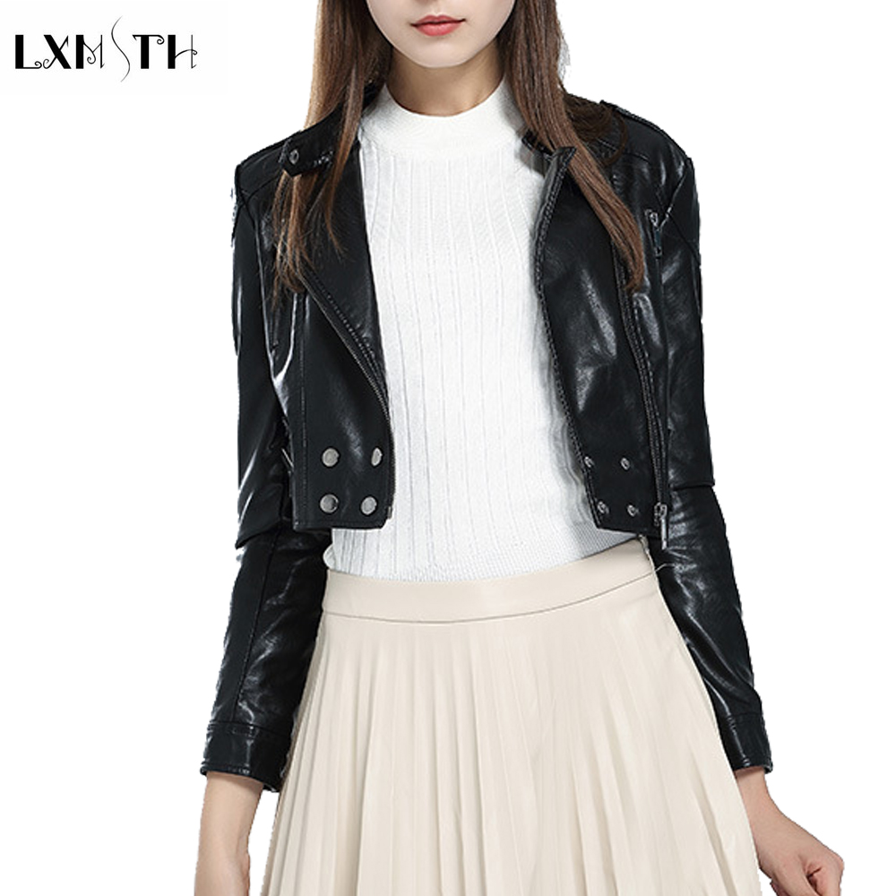 2019 New Design Fashion Short   Leather   Jacket Women Double Breasted Zipper Punk Crop Top Long Sleeve Beading Casual Slim Pu Coat