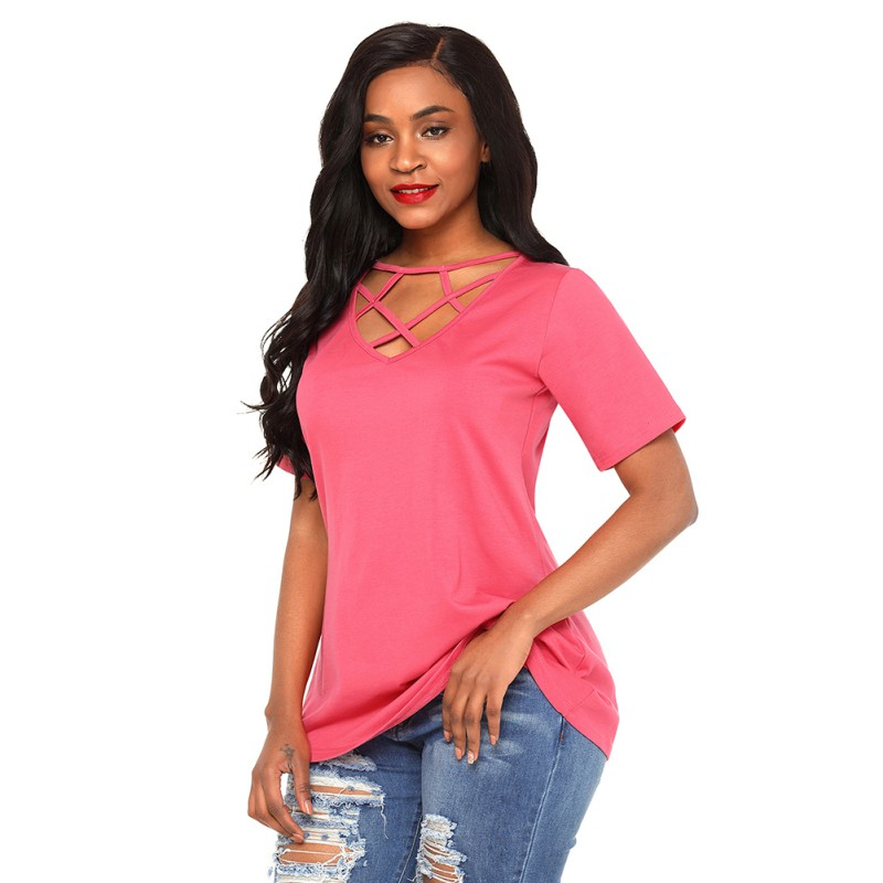 New Summer T Shirt Womens Casual Solid Short Sleeve Hollow Out Criss Cross Front V-Neck Women TShirt Plus Size Top Tee Femme