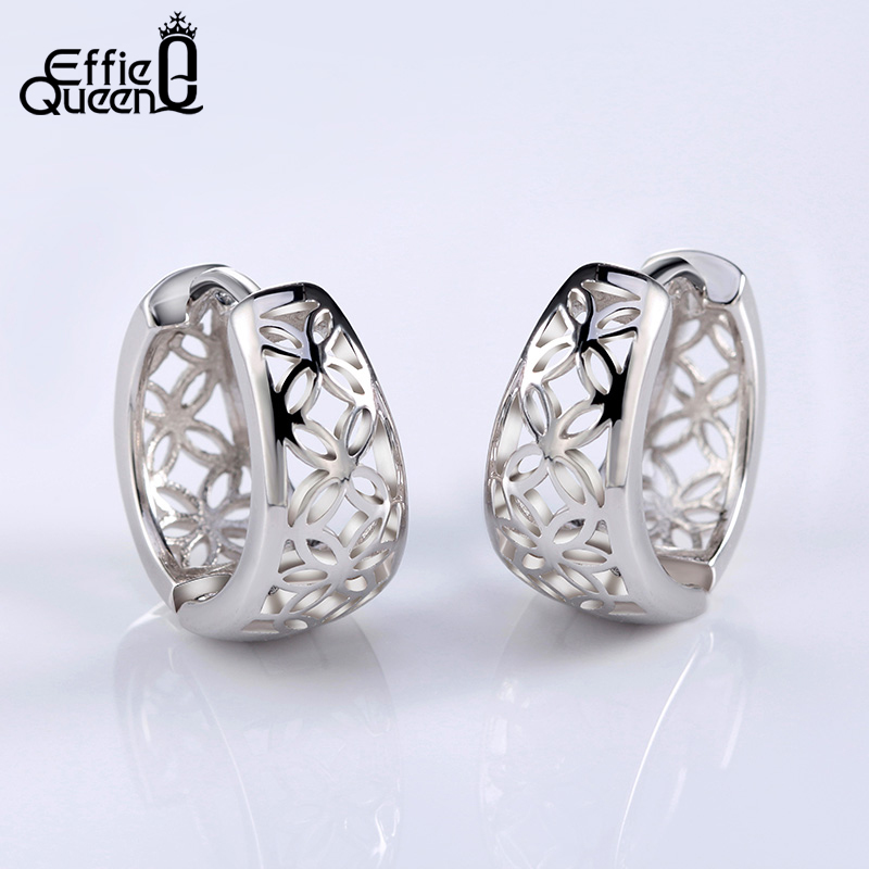Effie Ratu 2017 Musim Semi Baru Berongga Bunga Desain Warna Silver Wanita Anting Fashion Gaya Stud Earrings DE28