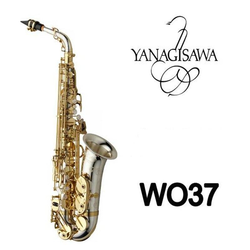 Instrumento profissional YANAGISAWA A-WO37 Eb Sintonia Alto Níquel Prata Superfície Bocal de Saxofone De Bronze Chave de Ouro Com Caso
