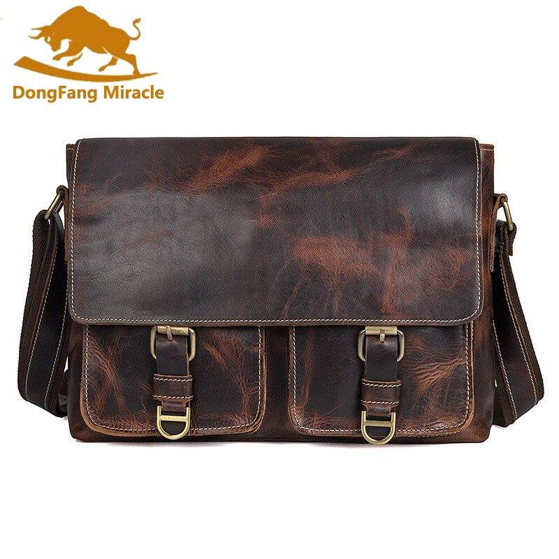 DongFang Miracle Vintage véritable cheval fou en cuir hommes Messenger sac homme épaule sac à bandoulière 9.7 pouces ordinateurs portables sac