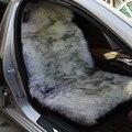 2 peças/lote DUMI Branco E Ponta Cor Preta Universal Fit longa Lã Macia Auto 100% Genuína Pele De Carneiro Pele Assento de Carro cobre