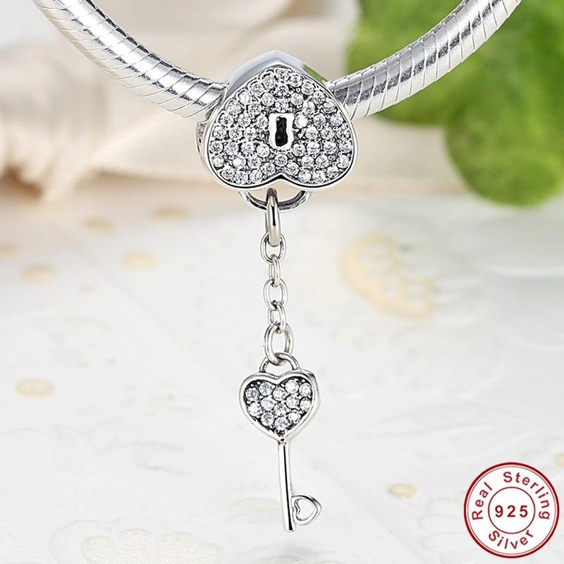 Authentic 925 Sterling Silver Bracelet Pendants Jewelry Padlock Clear CZ