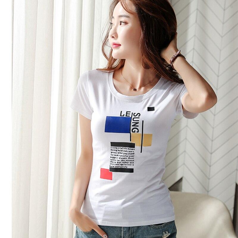 Shintimes Letter T Shirt Women Print T-Shirt Summer Tops 2019 Ladies Clothes Short Sleeve Cotton Female Tshirt Tee Shirt Femme