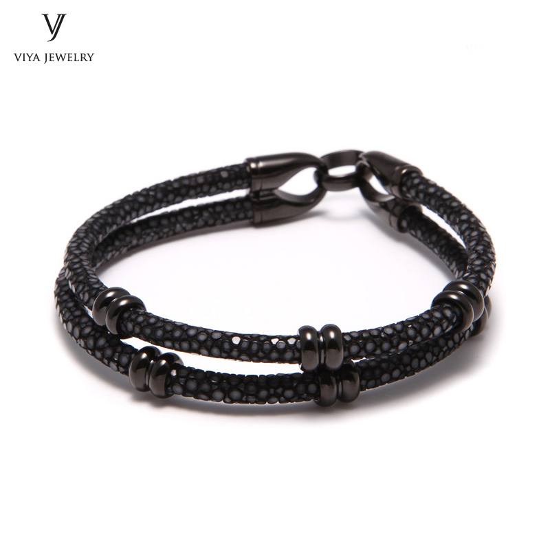 simple beads stingray leather bracelet for men ,couple stingray beads bracelets (1)