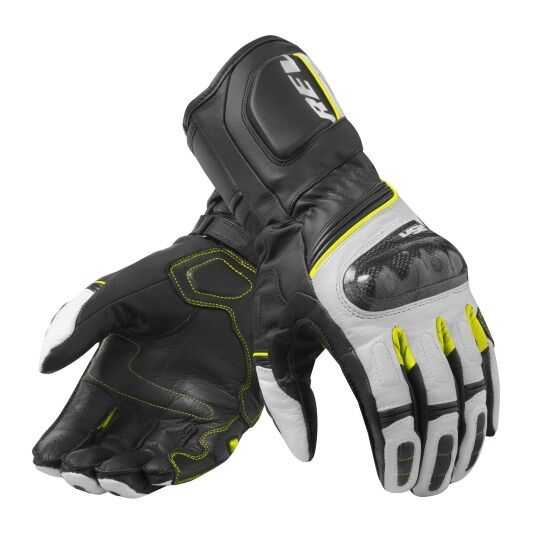 Revit RSR 3 Motorcycle Motocross Street Style Racing Genuine Leather Gloves White Yellow Neon