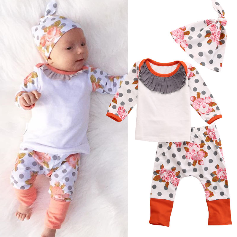 Baby Boy Girl Autumn Warm Clothing Set Cute Infant Baby Girls T-shirt Top Floral Long Pants Leggings 3pcs Outfits Set