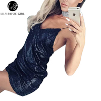 Lily Rosie Girl Deep V Neck Sexy Gold Sequin Dress Women Backless Strap Off Shoulder Autumn