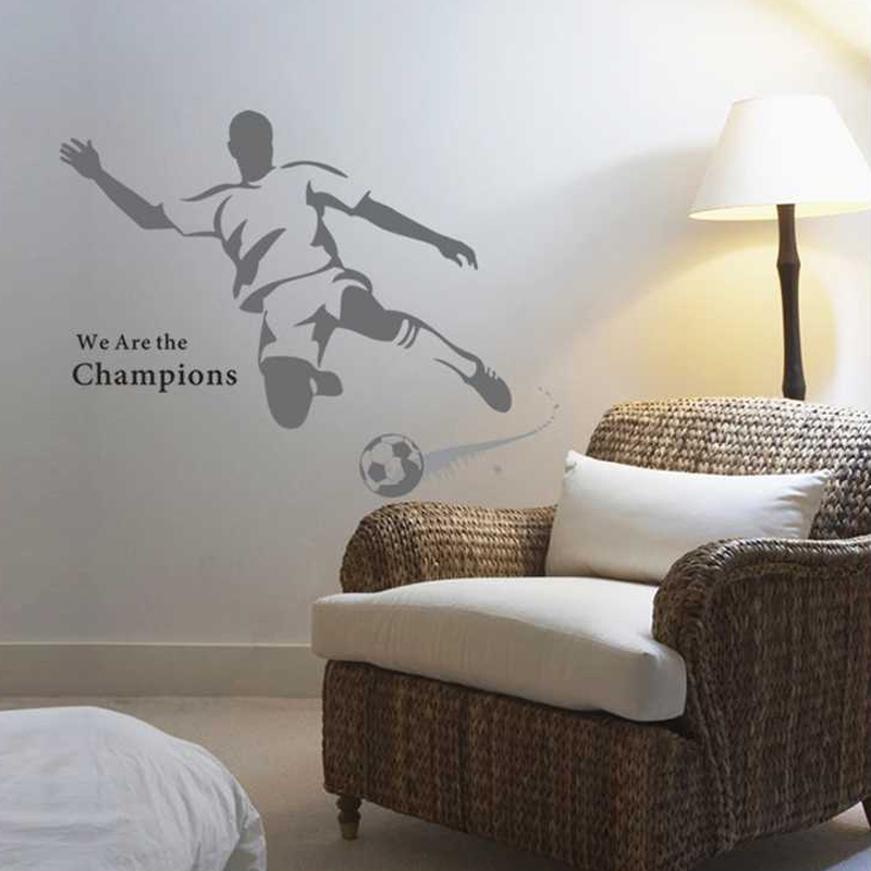 (2 piece/lot)Art Design hHome Decoration Football Player Decal Soccer Wall  Sticker