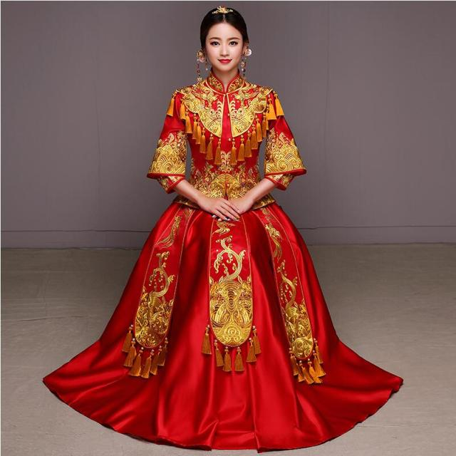 Red Bride Wedding Dress Traditional Ancient Qipao Clothing Female