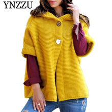 YNZZU 2019 New arrival Solid Hooded Women Knitted Cardigan Autumn Half sleeve plus size Sweater jacket Causal female coat YO862