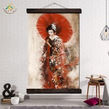 Japan Geisha Art Wall Canvas Prints Painting Frame Scroll Hanging Poster Decorative Picture Print