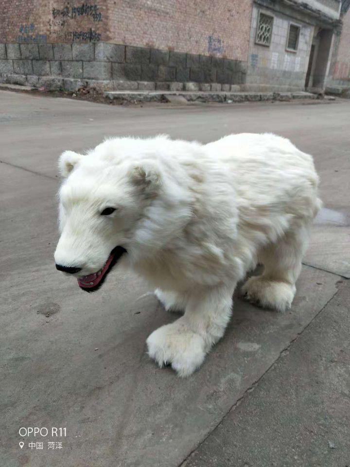 Grande simulation à bouche ouverte ours polaire modèle polyéthylène & fourrures énorme ours poupée cadeau environ 100x60 cm 2329