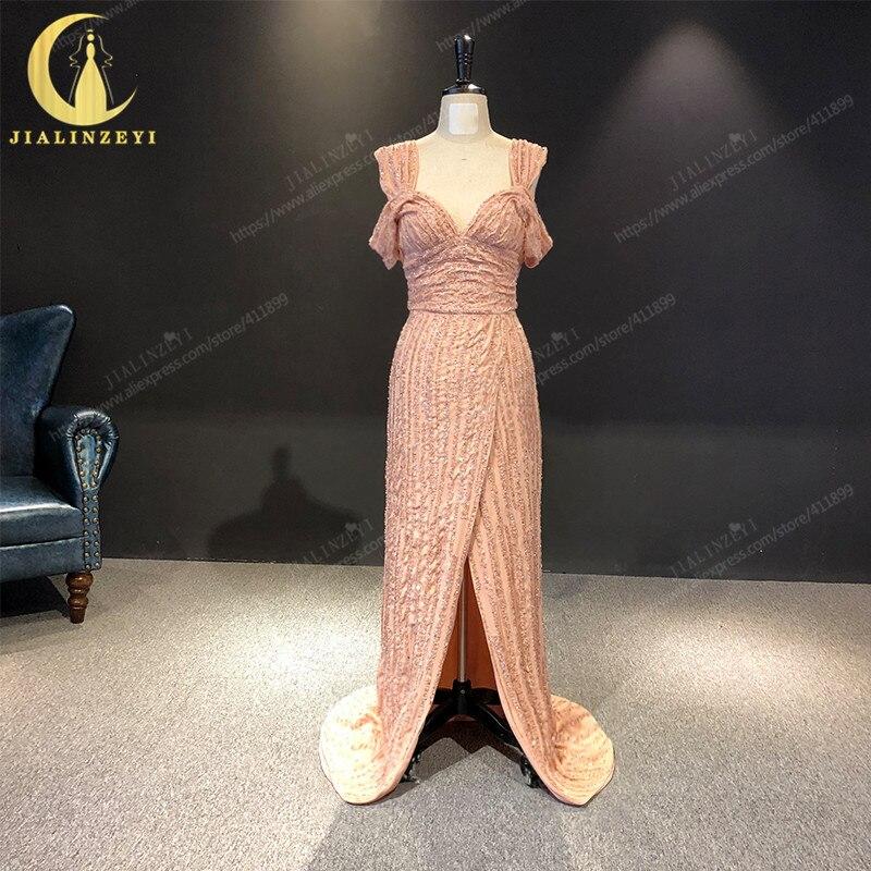 JIALINZEYI réel échantillon nu bateau cou complet luxueux perles en mousseline de soie Elie saab robe pour les robes de soirée de fête