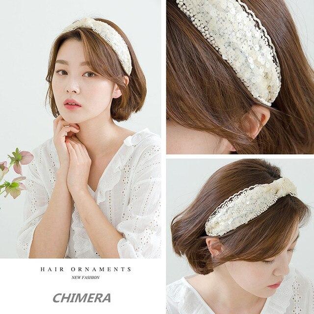 Женская повязка на голову с блестками chimera широкая кружевная